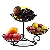TSyeah Obst Etagere Metall,Farbe schwarz, Obstschale, dekorativer Obstkorb, 3 stöckig