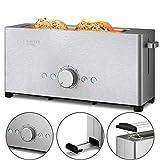 Balter Toaster 2 Scheiben, Langschlitz, Edelstahl, Brötchenaufsatz, Auftaufunktion, Brotzentrierung, Krümelschublade, TS-12, Farbe: Silber