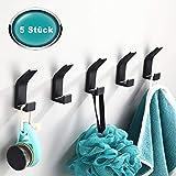 Handtuchhalter ohne bohren Schwarz 5 Stück,Handtuchhaken Wandhaken Kleiderhaken Wand aus Edelstahl, Rostfrei, Haken für Bad Toilette Handtuchhalter Küche Büro Kleiderhaken Kinder