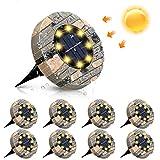 Solarleuchten, GLIME Solar Bodenleuchte 8er Set Gartenleuchte für Außen mit 8 LEDs, IP65 Wasserdicht Warmweiß Solarlampe Deko für Rasen, Auffahrt, Gehweg, Patio, Garden