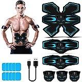 Tenswall Bauchtrainer, Bauchmuskeltrainer elektrisch, Muskelstimulator EMS Trainingsgerät mit Led-Anzeige, wiederaufladbares USB-ABS-Toner-Trainingsgerät, für Männer Frauen