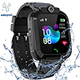 Kinder GPS Intelligente Uhr Wasserdicht, Smartwatch GPS Tracker mit Kinder SOS Handy Touchscreen Spiel Kamera Voice Chat Wecker für Jungen Mädchen Student Geschenk (S12 GPS Schwarz)