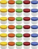 30 Salbendöschen, Creme-döschen, Salbenkruke flach, 35ml Inhalt mit farbigen Deckeln - MADE IN GERMANY