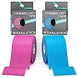 Boundletics Kinesiologie Tape Classic - 5 m x 5 cm - 2er Set Physiotape - wasserfest & elastisch - Kinesio Tapes mit Anleitung - Pink & Blau