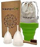 NakungooCup Menstruationstasse 2 Periode Tassen Größen S & L Bio Waschbare Sterilisator Becher Für Reinigung Alternative zur Binden Tampons Slipeinlagen Ideal für Anfänger Menstruation Cup