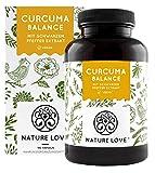 NATURE LOVE® Curcuma (Kurkuma) Balance Kapseln. Mit Kurkuma, Piperin und Curcumin 95% hochdosiert (entspricht ca. 7.000mg Kurkuma) pro Tagesdosis. Laborgeprüft, vegan, hergestellt in Deutschland