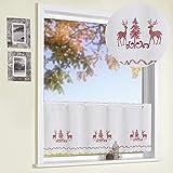 Scheibengardine Kreuzstich Stickerei HIRSCHE rot 45x155 cm auf Batist in natur COUNTRY CHIC Landhaus Panneau Gardine Weihnachten Bistrogardine ÖKOTEX Typ506