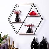 Hexagon Wandregal Metall mit 4 Holz-Flächen Vintage Dekoration in Skandinavischen Stil Schwarz für Küche Wohnzimmer Badezimmer Gewürze Industrial Eiche Organizer Wandboard 59x51cm
