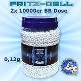 WEILAX 2 x Airsoft Softair Kugeln Fritz-Cell BBS 6 mm 0,12g 10000 Stück im praktischen Behälter