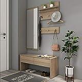 Style home 4tlg. Garderobenset Holz Garderobe Flurgarderobe Komplettgarderobe Wandgarderobe, 1 Bank + 1 Spiegelpanel + 2 Garderobenpanel, SH78M11053-HOL