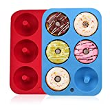 Silikon-Donut-Formen, 2 Stück, 6 Mulden, antihaftbeschichtet, sichere Silikon-Donut-Backform für Kuchen, Kekse, Bagels, Muffins, blau, rot