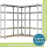 Juskys 3er Metall Regalsystem | 1 Eckregal & 2 Lagerregale | 15 Böden aus MDF Holz | 2625 kg | Schwerlastregal Steckregal Lagerregal Kellerregal