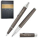 PARKER Schreibset IM Gunmetal C.C. Kugelschreiber und Tintenroller mit persönlicher Laser-Gravur im Geschenketui