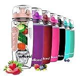 willceal Wasserflasche Mit Fruchteinsatz 945 ml Durable mit abnehmbarem Eisgel-Ball, groß - BPA-freies Tritan, Flip-Deckel, dichtes Design - Sport, Camping (Gold)
