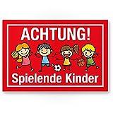 Achtung Spielende Kinder Kunststoff Schild (rot, 30 x 20cm), Hinweisschild, Warnzeichen, Warnschild langsam fahren, Warnung, Hinweis Spielstraße/Spielplatz - Vorsicht spielende Kinder