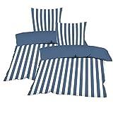 Casa Colori Bettwäsche 135 x 200 cm 4 TLG. Wendebettwäsche Renforce aus 100% Baumwolle mit Reißverschluss im maritim Look Gestreift oder Uni Marine Blau