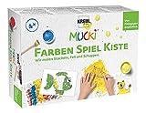 Kreul 29103 - Mucki Fingermalfarbe, Farben Spiel Kiste, Wir malen Stacheln, Fell und Schuppen, Lern- und Spielset, 5 x 50 ml Fingerfarbe, 2 kleine Dosen, 12 Malvorlagen sowie Malwerkzeuge