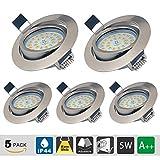 LED Einbaustrahler Dimmbar Schwenkbar Ultra Flach 5er Set 5W LED Modul IP44 230 Volt 550lm Warmweiss Einbauleuchten für Bad, Küche, Wohnzimmer