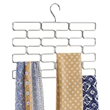 mDesign Schalbügel – platzsparender Schalhalter für den Kleiderschrank – hängender Schalorganizer mit 18 Fächern – silberfarben