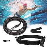 Lzfitpot Pool Schwimmgürtel, Einstellbare Schwimmgurt Schwimmband, Durable Schwimmwiderstand 4M Zugseil Schwimmtrainer Gürtel für Kinder & Erwachsene, Schwarz