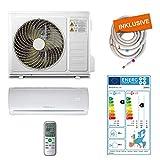 Home Deluxe - Klimaanlage SET Split XXL - Kühlen A++/Heizen A+ - 12000 BTU/h (3.400 Watt) - Kältemittel R32 - Fernbedienung und Timerfunktion - Inkl. komplettem Montagematerial [Energieklasse A++]