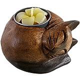 Jones home & gift Hölzerner Teelichthalter in der Form Einer schlafenden Katze, Mehrfarbig