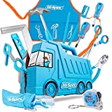 Hi-Spec 17-teiliges Kinder Werkzeugset mit LKW box in Blau, Kinderschürze mit Taschen, Schutzbrille, Wasserwaage, kleinen Handwerkzeugen und Sicherheitsschere