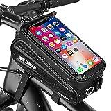 GESPERT Fahrrad Rahmentasche Lenkertasche Oberrohrtasche Wasserdicht mit TPU-Touchscreen, Fahrrad Handyhalterung mit Kopfhörerloch für Smartphone unter 6 Zoll