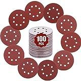 GALAX PRO Schleifpapier, 100 Stück Schleifpapiere Ø125mm/5 Zoll, je x10, für P60/P80/P100/P120/P150/P180/P240/P320/P400/P600 Körnung, 8 loch
