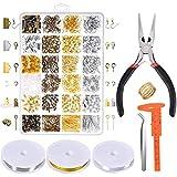 MRX Schmuckherstellung Zubehör Set, Schmuck Basteln Zubehör Kit für Ohrringe Armband Halskette DIY Anfänger Schmuck Reparatur Werkzeug Kit in 24 Sorten