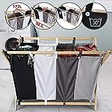 Jago Wäschesortierer - faltbar, 4 Fächer aus Stoff, aus Holz, vierfarbig, ca. 172 l Volumen, Größe (L/B/H): 98.5/40/72 cm - Wäschekorb, Wäschebox, Wäschesammler