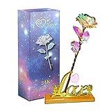 Aokebeey Rose Konservierte 24K Galaxy Blumen mit Licht und Präsentationsständer Kreative Geschenk für Hochzeit, Muttertag, Geburtstag (Liebe Stehen)