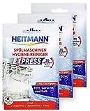 HEITMANN Express Spülmaschinen Reiniger: hygienische Sauberkeit fürs Geschirr, Hygienereiniger 3fach aktiv gegen Fett, Kalk, Gerüche, wirkt schon im Kurzprogramm, spart Zeit, Energie, Kosten, 3 x 30g