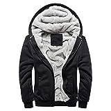 MRULIC Herren Hoodie Pullover Winter Warme Fleece Jacke Zipper Sweater Jacke Outwear Mantel RH-054(Schwarz,EU-44/CN-L)