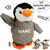 NACH sprechender - Pinguin / Vogel -  Ich spreche Alles nach & laufe dazu  - inkl. Name - aus Stoff / Plüsch - Plüschtier - mit Sound & Bewegung - spricht &..