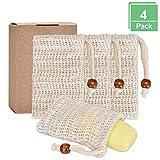 4x Seifensäckchen, 100% Natürliches Sisal Seifenbeutel Bio Nachhaltige Seifenreste Plastikfreie Seifennetz für Körper-Peeling
