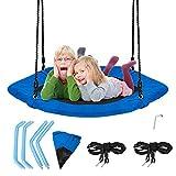 COSTWAY 94x84cm Nestschaukel, Baumschaukel 100-160cm verstellbaren Seil, Hängeschaukel 150kg Tragkraft, Tellerschaukel für Kinder & Erwachsene (Blau)
