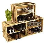 3 x Schuhschrank Schuhregal aus geflammten Holzkisten Schuhablage für 12 Paar Schuhe als Schuhständer Schuhaufbewahrung aus Holz Maße 50x30x40cm (je Kiste) stabiles Regal in Obstkisten Optik