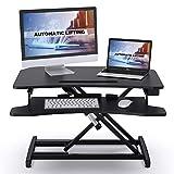 ABOX Sit-Stand Workstation, Höhenverstellbarer Schreibtisch-Aufsatz Computertisch mit automatischem elektrischem Knopf, Tastaturablage, ergonomischer Sitz-Steh-Schreibtisch für Büro Zuhause