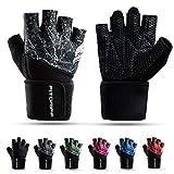 Fitgriff® Fitness Handschuhe V2, Trainingshandschuhe, Sporthandschuhe für Damen und Herren, Krafttraining, Kraftsport, Training, Sport, Gym, Workout Gloves (Black, 7)