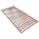 Naturamio Massivholz-Rollrost XXL – 90 x 200cm – Hochwertiger Rolllattenrost aus 23 massiven Leisten aus Hartholz – 350 KG Flächenlast – unbehandelt und FSC Zertifiziert