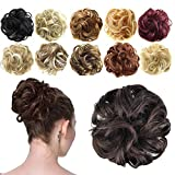 Feshfen Haargummi-Haarteil, für Haarknoten/Pferdeschwanz, Haarverlängerung, gewellt, unordentlicher Haarknoten, Dutt, Hochfrisur, Haarteil, A08 - Darkest Brown & Dark Auburn Mixed 2/33