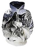 NEWISTAR Herren 3D Wolf Hoodie Jacke Sweatjacke mit Kapuzen Medium