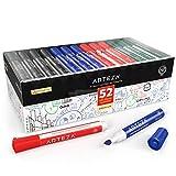 Arteza Whiteboard Marker Set mit Keilspitze, 52 Whiteboard Stifte, 4 verschiedene Farben, Boardmarker mit geruchsarmer Tinte, trocken abwischbar von Magnettafeln, für Schule oder Büro