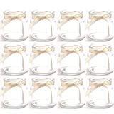 Annastore 12 x Teelichtgläser mit cremefarbenem Band H 7 cm - für kleine Teelichter - kleine Windlichter aus Glas für die Tischdeko