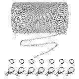 Jerbro 33 Füße Edelstahl DIY Link Kette Ketten Gliederkette Halsketten mit 20 Karabiner Verschlüsse und 30 Sprung Ringe für Schmuck Basteln Herstellung, 2mm