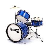 RockJam 3-teiliges Junior Drum Set mit Crash Cymbal, Drumsticks, Verstellbarer Thron und Zubehör - Blau