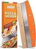 Pizza Mondo® Pizzaschneider - Profi Pizzamesser (Pizza Cutter) effektiver als Pizzaroller | Premium Pizza Wiegemesser aus Edelstahl 32cm mit Holzgriff | Schnelles und gleichmäßiges Schneiden