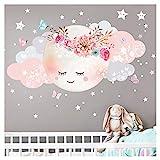 Little Deco Wandsticker Kinderzimmer Mädchen Mond & Wolken I XL - 127 x 63 cm (BxH) I Wandtattoo Babyzimmer selbstklebend Wandaufkleber Sterne Blumen Kinder DL243