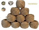 ViaForest 10 x 100 Meter Garten Schnur Jute Kordel Garn Natur Bastelband Paketschnur Juteband Kunsthandwerk Verpackungs DIY String Dekoration Seil